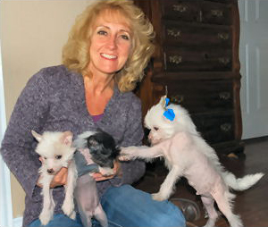 Teresa and Chinese Crested Dogs