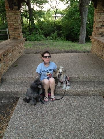 Sierra (2014) with her new Mommy and buddy Puff out for a walk.